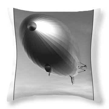 Throw Pillow featuring the digital art The Blimp... by Tim Fillingim