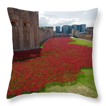 The Bloody Tower Throw Pillow by Ron Harpham
