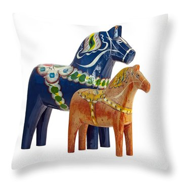 The Blue And Red Dala Horse Throw Pillow