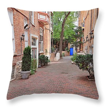 The Blue Door - Gaslight Court Chicago Old Town Throw Pillow by Christine Till