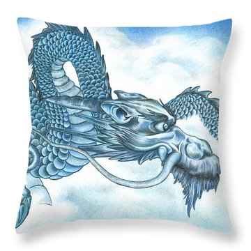 The Blue Dragon Throw Pillow