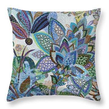 The Blue Flower Throw Pillow by Erika Pochybova
