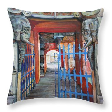 The Blue Gate Throw Pillow by Marina Gnetetsky