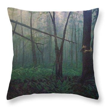 The Blue-green Forest Throw Pillow by Derek Van Derven