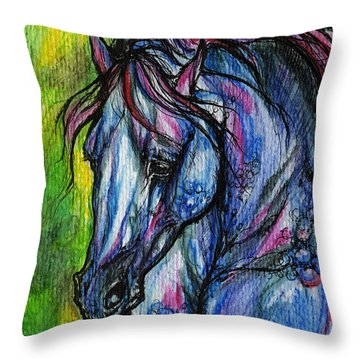 The Blue Horse On Green Background Throw Pillow by Angel  Tarantella
