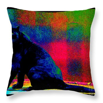 The Blue Jaguar Throw Pillow by Susanne Still