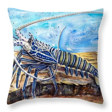 The Blue Lobster Throw Pillow
