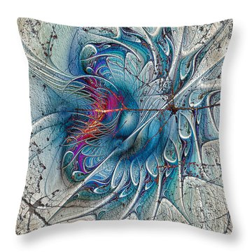 The Blue Mirage Throw Pillow by Deborah Benoit