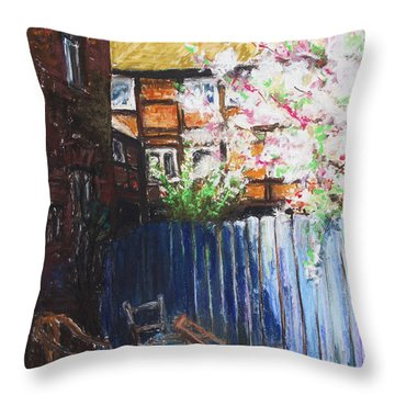 The Blue Paling - Backyard Of The Arthouse Buetzow Throw Pillow by Barbara Pommerenke