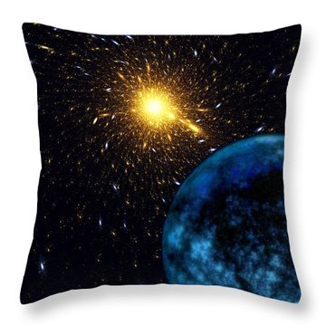 The Blue Planet Throw Pillow by Klara Acel