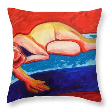 The Blues In Red Rhapsody Throw Pillow by Esther Newman-Cohen