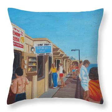 The Boardwalk At Daytona Beach Throw Pillow