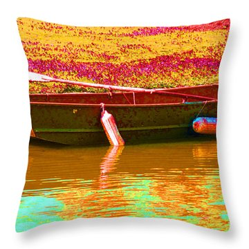 The Boat Throw Pillow by Barbara McDevitt