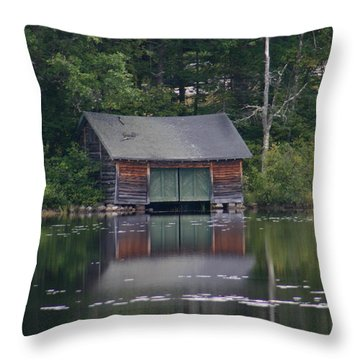 The Boat House On Mt Chocorua Lake Throw Pillow by Denyse Duhaime