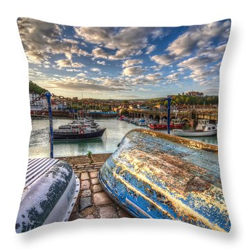 The Boats Of Folkestone Throw Pillow by Tim Stanley