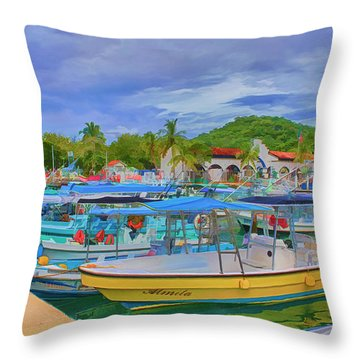 The Boats Of Hautulco Throw Pillow