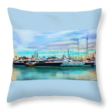 The Boats Of Malaga Spain Throw Pillow