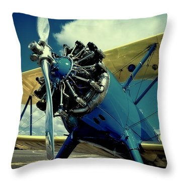The Boeing Stearman Biplane Throw Pillow