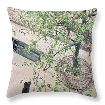 The Boulevard Viewed From Above Throw Pillow by Gustave Caillebotte