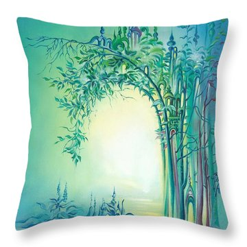 Throw Pillow featuring the painting The Boundary Bush by Anna Ewa Miarczynska