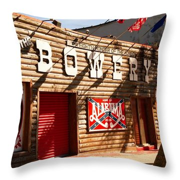 The Bowery Myrtle Beach Throw Pillow