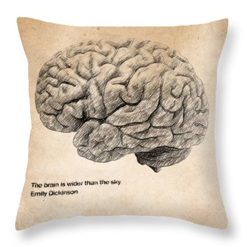 The Brain Is Wider Than The Sky Throw Pillow by Taylan Apukovska