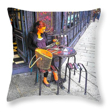 The Brasserie In Paris Throw Pillow by Jan Matson