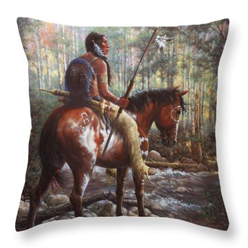 Throw Pillow featuring the painting The Brave by Harvie Brown
