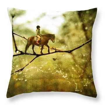The Brave Rider Throw Pillow