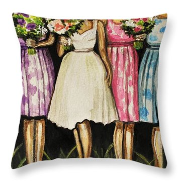 The Bride And Her Bridesmaids Throw Pillow