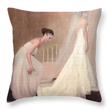 The Bride And Her Maid Of Honor Throw Pillow by Angela A Stanton