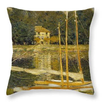 The Bridge At Argenteuil Throw Pillow by Claude Monet