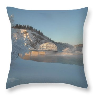 The Bridge At Big Delta 2 Throw Pillow by Cathy Mahnke