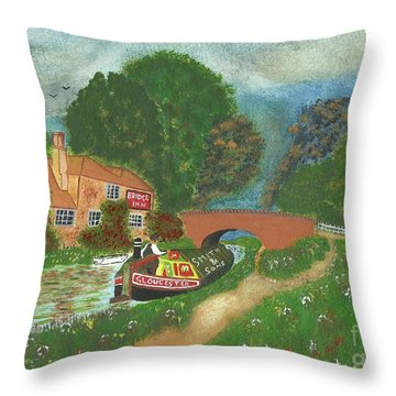 Throw Pillow featuring the painting The Bridge Inn by John Williams