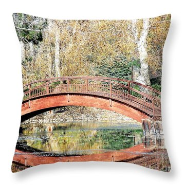 The Bridge Throw Pillow by Tom Riggs