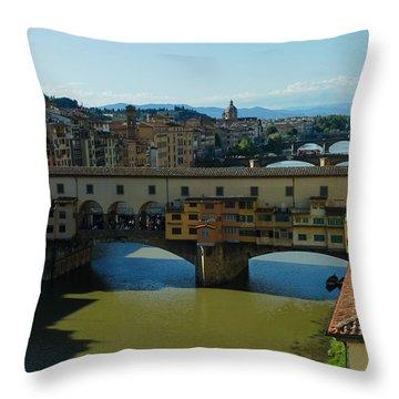 The Bridges Of Florence Italy Throw Pillow by Georgia Mizuleva