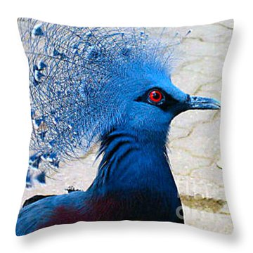 Throw Pillow featuring the photograph The Bright Blue Bird by Nina Silver