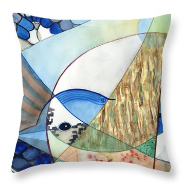 The Brilliant Blue Jay Throw Pillow