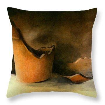 The Broken Terracotta Pot Throw Pillow by Michelle Calkins
