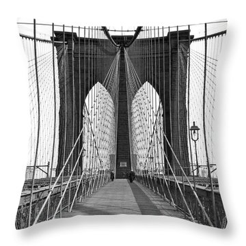 The Brooklyn Bridge Throw Pillow by Underwood Archives