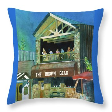 Throw Pillow featuring the painting The Brown Bear by LeAnne Sowa