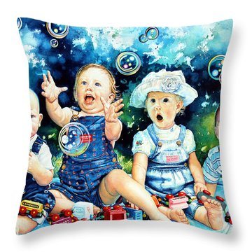 The Bubble Gang Throw Pillow by Hanne Lore Koehler