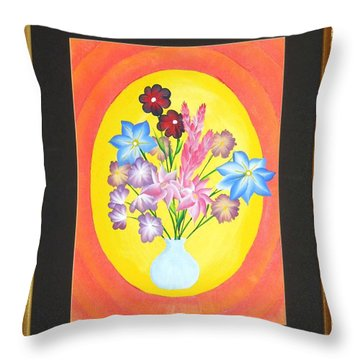 Throw Pillow featuring the painting The Bud Vase by Ron Davidson