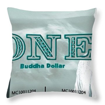 Throw Pillow featuring the digital art The Buddha Dollar by Mario Carini