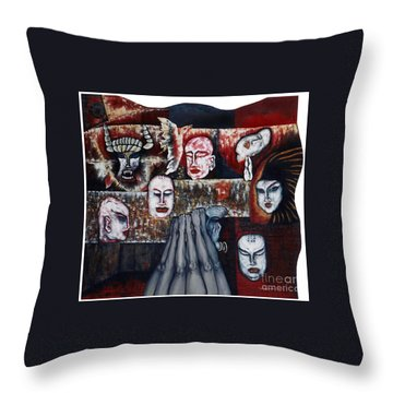 Throw Pillow featuring the painting The Buddhism Conception And The Human World by Fei A