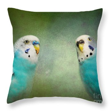 The Budgie Collection - Budgie Pair Throw Pillow by Jai Johnson