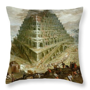 The Building Of The Tower Of Babel Throw Pillow by Marten van Valckenborch