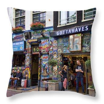 The Bulldog Coffee Shop - Amsterdam Throw Pillow
