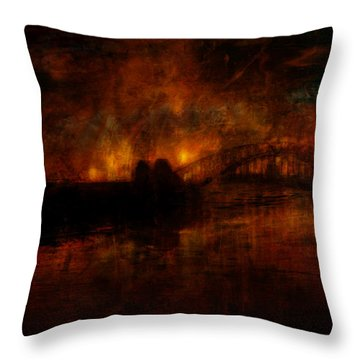 The Burning Of Sydney Throw Pillow