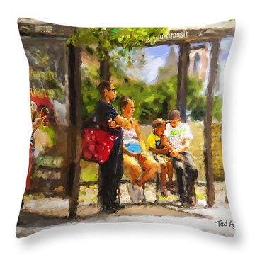 The Bus Stop Throw Pillow